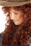 Woman red hair hat close look down Stock Images