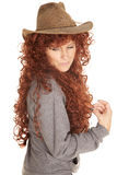 Woman red hair hat look down Royalty Free Stock Images