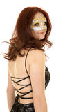 Woman red hair mask back look Stock Photography