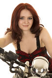 Woman Red Hair Motorcycle Close Smile Royalty Free Stock Photo
