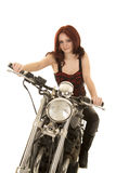 Woman red hair motorcycle look smile Stock Images