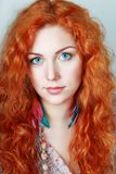 Woman with red hair Stock Photos