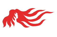 Woman with red hair. Silhouette drawing of a woman with long red hair Royalty Free Stock Images