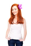 Woman with red hair in tank top Royalty Free Stock Image