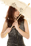 Woman red hair umbrella over part of face stock images