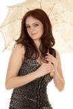 Woman red hair umbrella smile Stock Photos