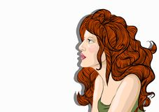 Woman with red hair. Vector portrait of a beautiful woman with red hair on the background of floral ornament stock illustration