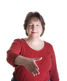 Woman in Red Handshake Royalty Free Stock Image