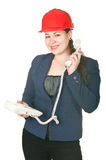 Woman in red har hat calling by phone stock image
