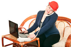 Woman in red hard had calling by phone Stock Images