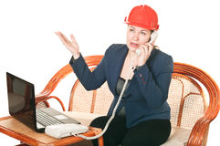 Woman in red hard had calling by phone Stock Photography
