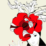 Woman with red hat. Universal template for greeting card, web page, background Stock Photography