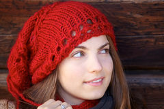 Woman and red hat Stock Image