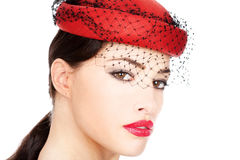 Woman with red hat Royalty Free Stock Photos