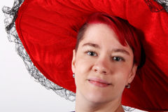 Woman with red hat Royalty Free Stock Image