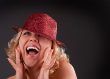 Woman in red hat emotion Royalty Free Stock Photography