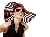 Woman in red hat Stock Image
