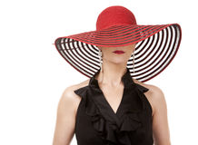 Woman in red hat Royalty Free Stock Photos