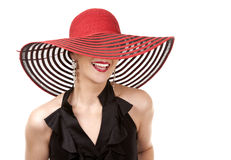 Woman in red hat Royalty Free Stock Images