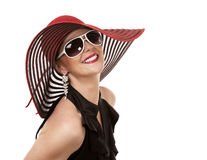 Woman in red hat Stock Photography