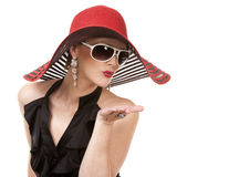 Woman in red hat Royalty Free Stock Image