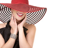 Woman in red hat Stock Photo