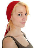 Woman in red headscarf Stock Photography
