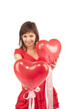 Woman with red heart balloon Royalty Free Stock Images