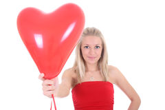 Woman with red heart balloon Royalty Free Stock Image
