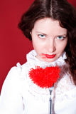 Woman with red heart on a fork Stock Image