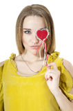 Woman with red heart. Stock Photo