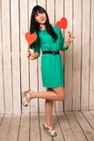Woman with red heart Royalty Free Stock Images