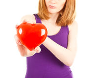 Woman with red heart-shaped  jewel box Royalty Free Stock Photo
