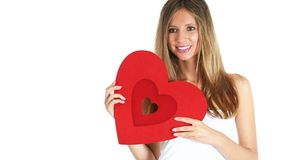 Woman with red heart Valentine day anniversary. Woman with red heart Valentine day concept stock footage