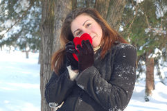 Woman with red heart in winter Stock Images