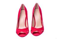 Woman red high heel shoes isolated Stock Photography