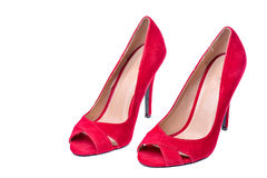 Woman red high heel shoes isolated Royalty Free Stock Photo