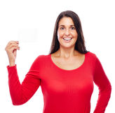Woman in Red holding business Card Royalty Free Stock Photography