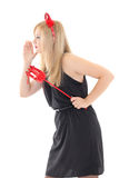 Woman in red imp costume talking something Royalty Free Stock Images