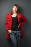 Woman in Red Jacket Stock Photography