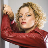 Woman in red jacket. Stock Image