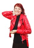Woman in red jacket Royalty Free Stock Photo