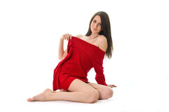 Woman with red jersey Royalty Free Stock Photography
