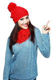Woman in red knit scarf and hat Royalty Free Stock Image