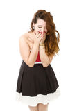 Woman in red laugh Royalty Free Stock Image