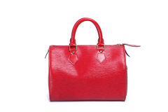 Woman red leather handbag Stock Photography
