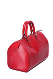 Woman red leather handbag Royalty Free Stock Images