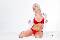 Woman in red lingerie Royalty Free Stock Image