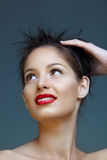 Woman with red lips Stock Photography