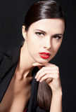 Woman with red lips royalty free stock image